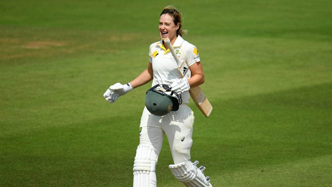 TAUNTON, ENGLAND - JULY 19: Ellyse Perry of Australia celebrates after scoring a century.