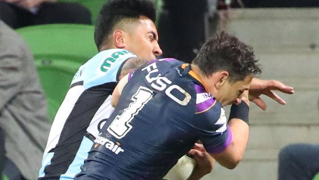 Billy Slater of the Melbourne Storm could miss the grand final for this shoulder charge. Picture: Getty Images