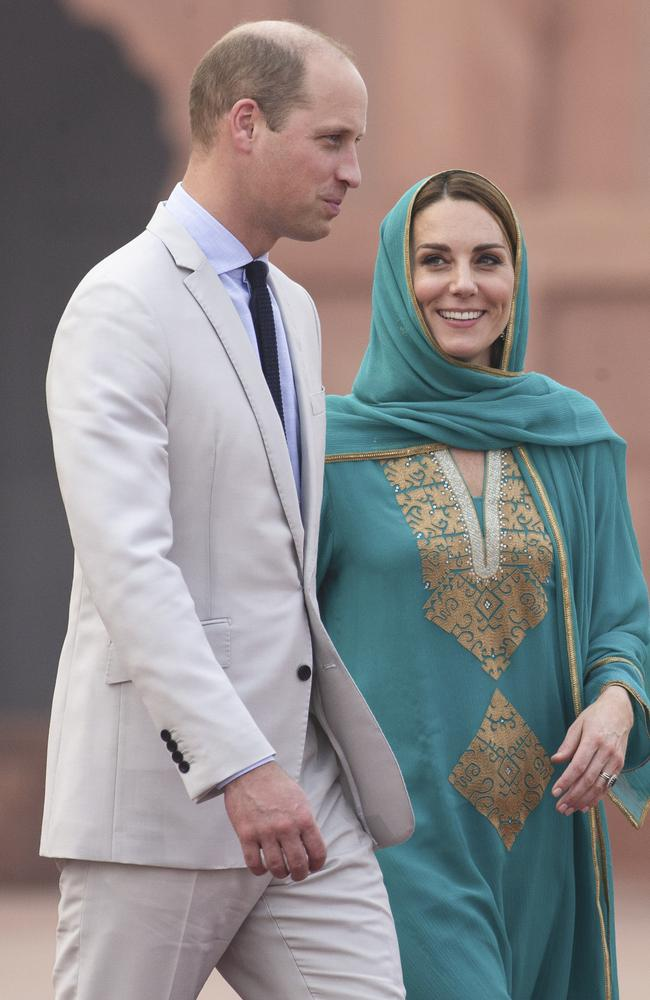 The royals pictured during their visit to Lahore Mosque. Picture: Getty Images