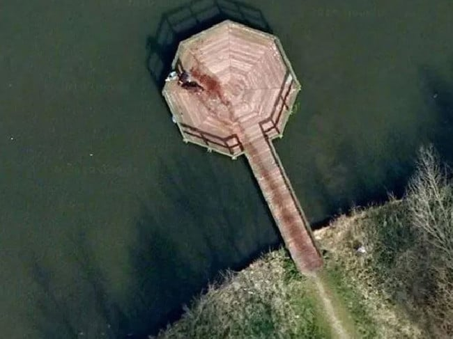 The bloody scene captured by Google Earth. Picture: Google Earth