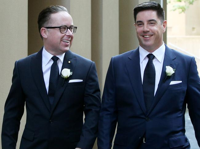 Qantas CEO Alan Joyce and partner Shane Lloyd are seen on their way to their wedding ceremony. Picture: Getty Images