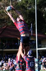 TSS lock Wilson Blyth. GPS Rugby: Brisbane Boys' College v The Southport School at BBC Wilson Blyth in lineout for TSS Saturday 24th August 2019. (AAP Image - Richard Waugh)