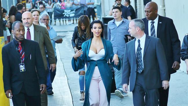 Kim Kardashian has several bodyguards.