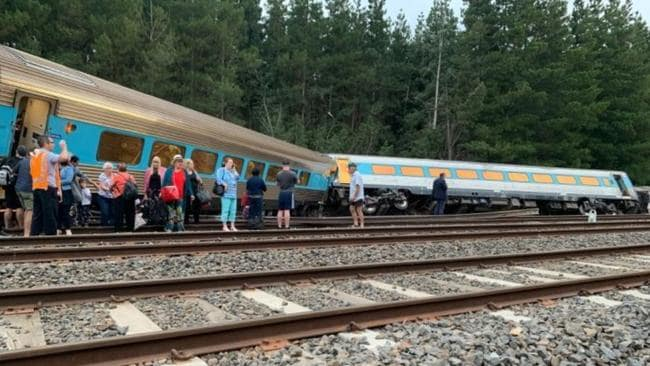 "One passenger said tray tables went flying when the train ""suddenly slid into a fast stop"". Picture: Twitter/@Jade & David for a Better Australia."