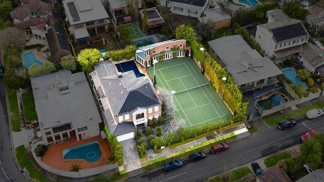 The huge block has a pool, tennis court and clubhouse to boot.