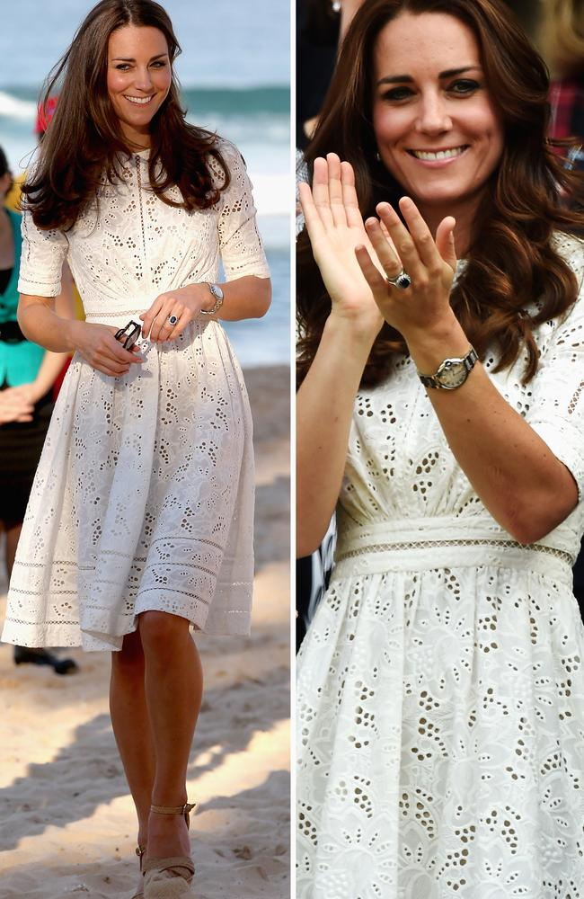 As one of the only Australian designers Middleton has ever worn, this Zimmermann dress was instantly recognisable when the Duchess rewore it to Wimbledon in July 2014, just months after its debut in Sydney.