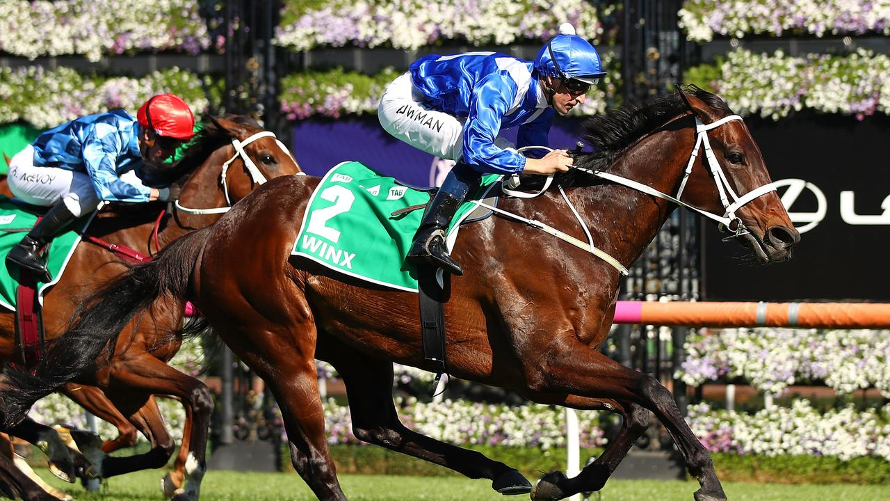 Winx winning the TAB Turnbull Stakes on October 6, 2018
