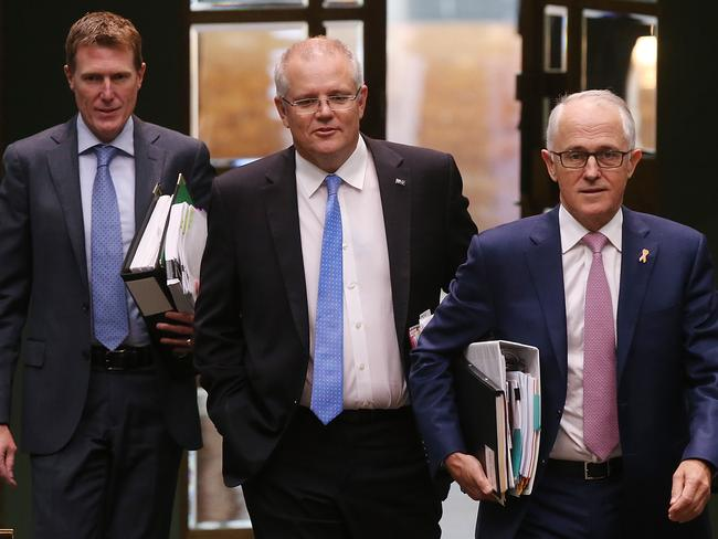 Christian Porter, Treasurer Scott Morrison and Malcolm Turnbull. Picture Kym Smith
