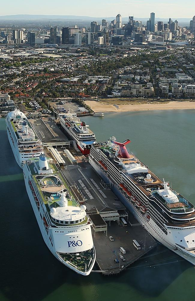 Pacific Pearl, Pacific Jewell and Carnival Spirit are seen docked in Melbourne ahead of the Melbourne Cup in 2014. Picture: Brendon Thorne/Getty Images