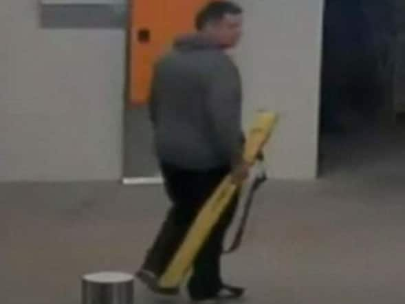 Jonathan Dick seen carrying a sword at Westfield Doncaster