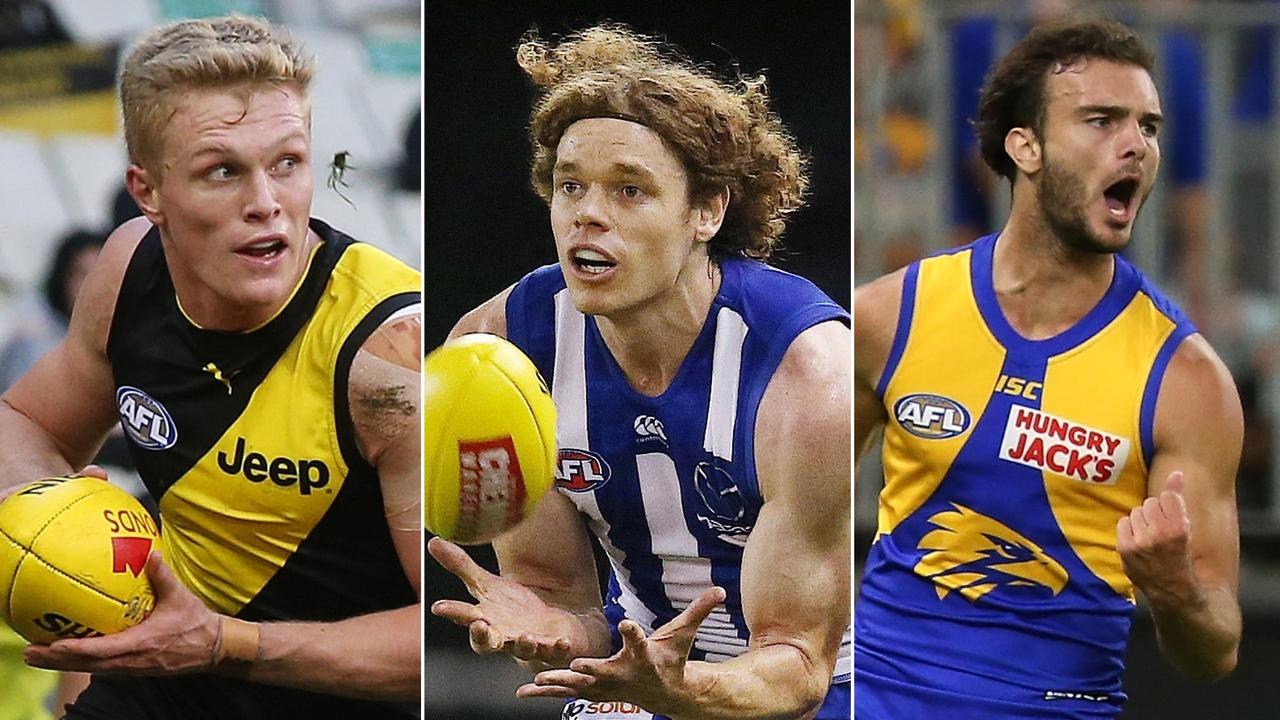 The AFL speed and distance kings: Ryan Garthwaite, Ben Brown and Jack Petruccelle.