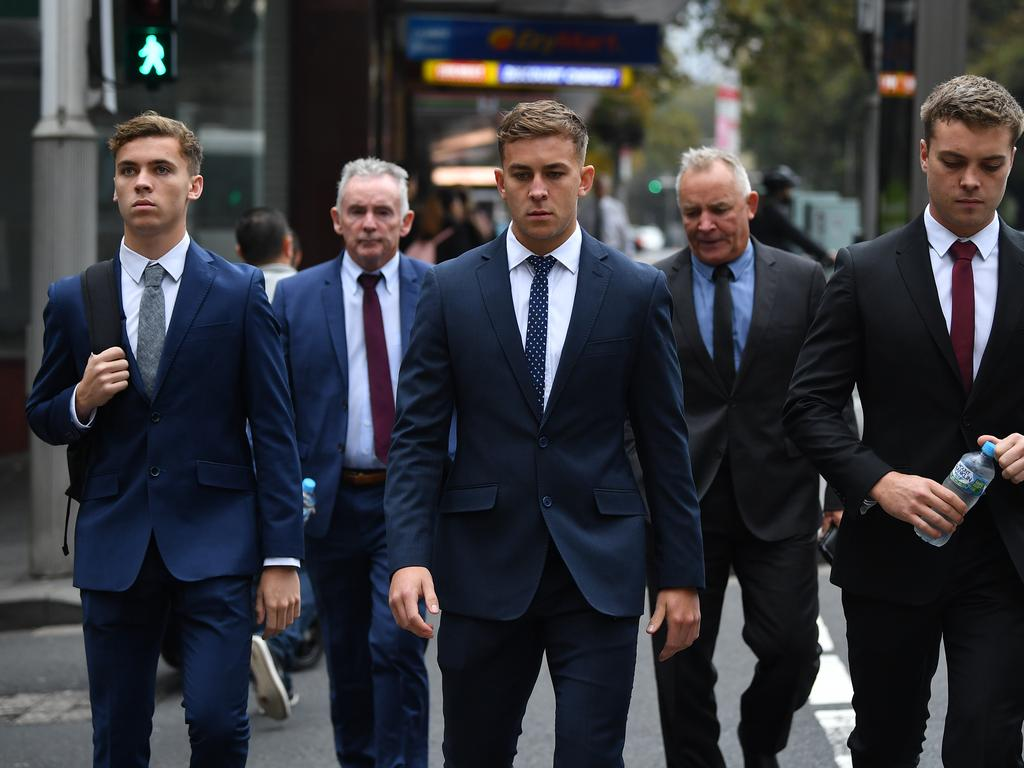Callan Sinclair (centre) arrives at court supported by family on Tuesday. Picture: NCA NewsWire / Joel Carrett