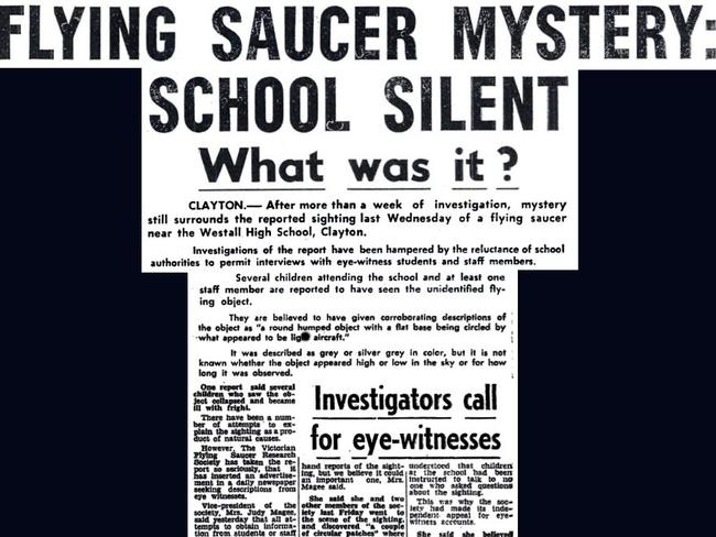 A newspaper tear out from the Dandenong Journal, one of the few papers to cover the 1966 UFO mystery at Westall High School.
