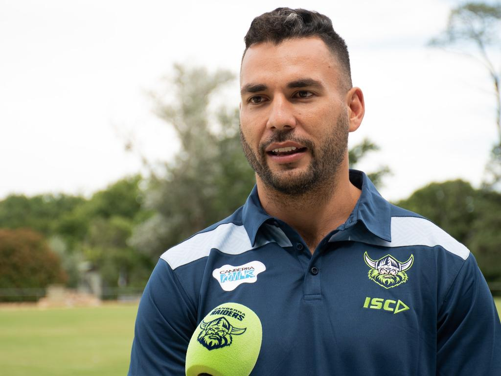 WEEKEND TELEGRAPHS SPECIAL. MUST TALK WITH PIC ED JEFF DARMANIN BEFORE PUBLISHING.  New Canberra Raiders recruit Ryan James at pre-season training ,