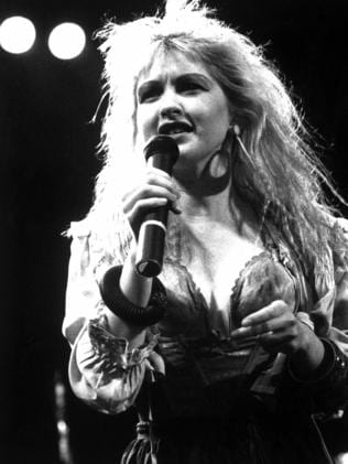 Cyndi Lauper on stage in Melbourne in 1986. Picture: Supplied.