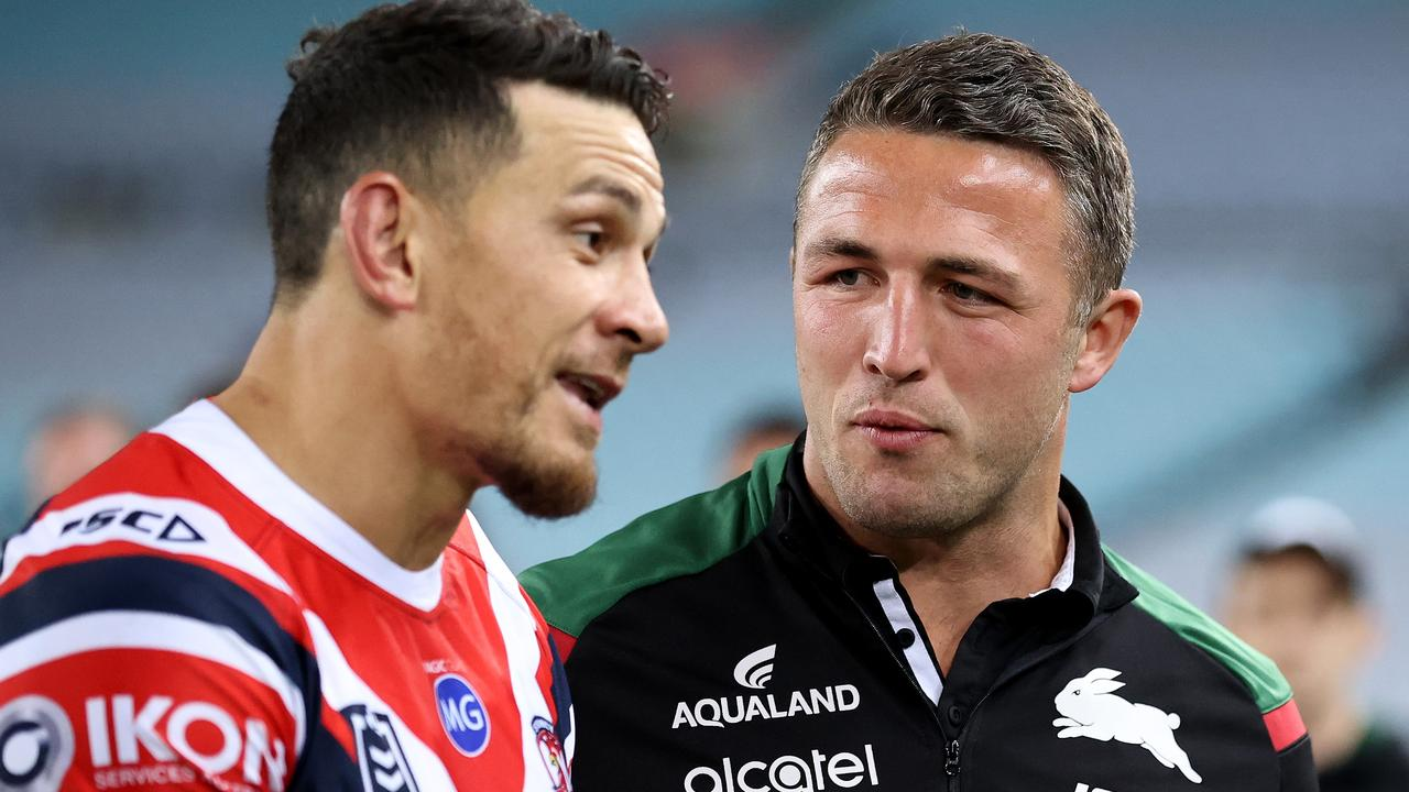 Former Rabbitohs player Sam Burgess talks to Sonny Bill Williams of the Roosters.