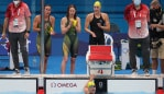 TOKYO, JAPAN - JULY 28: Brianna Throssell, Meg Harris, Mollie O'Callaghan and Tamsin Cook of Team Australia celebrate after heat two of the Women's 4 x 200m Freestyle Relay on day five of the Tokyo 2020 Olympic Games at Tokyo Aquatics Centre on July 28, 2021 in Tokyo, Japan. (Photo by Maddie Meyer/Getty Images)