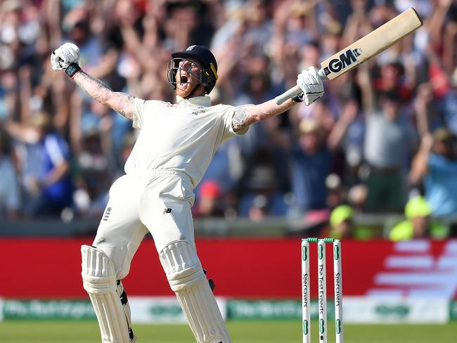 Ben Stokes celebrates hitting the winning runs to secure the third Ashes Test for England at Headingley. Picture: Getty Images