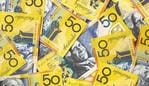 Background of Australian fifty dollar bills. Full-frame. generic money, notes, cash.