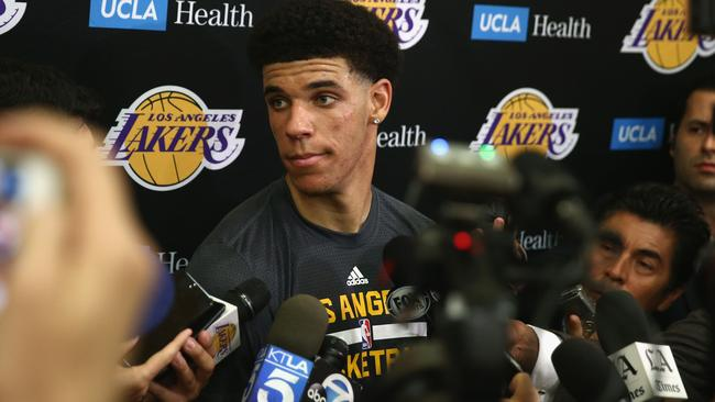 NBA Prospect Lonzo Ball speaks with the media after a workout with the Los Angeles Lakers.