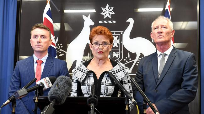 One Nation leader Pauline Hanson at a press conference alongside James Ashby and Steve Dickson on March 28, 2019 in Brisbane, Australia. Picture: Bradley Kanaris/Getty Images.