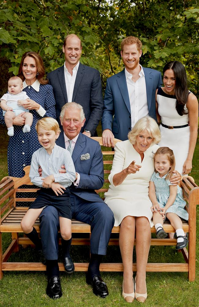 Prince Charles poses for an official portrait to mark his 70th Birthday, with Camilla Duchess of Cornwall, Prince William, Catherine Duchess of Cambridge, Prince George, Princess Charlotte, Prince Louis, Prince Harry and Meghan Duchess of Sussex. Picture: Chris Jackson/Getty
