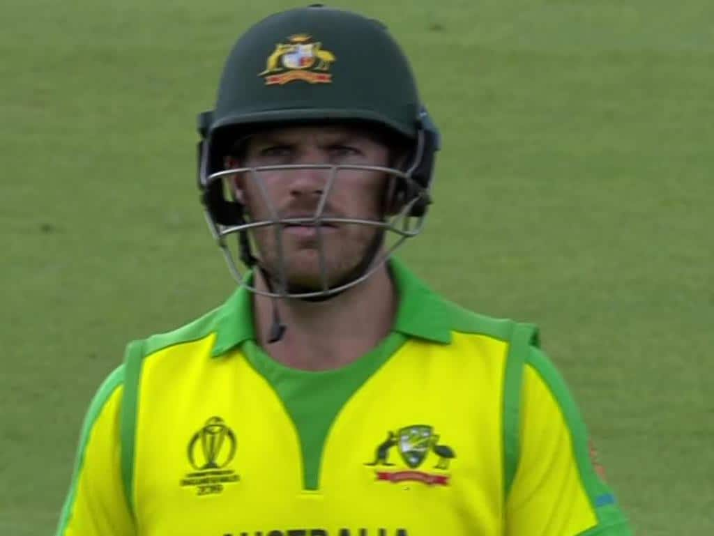 Aaron Finch looked confused on his way off the field against Bangladesh.