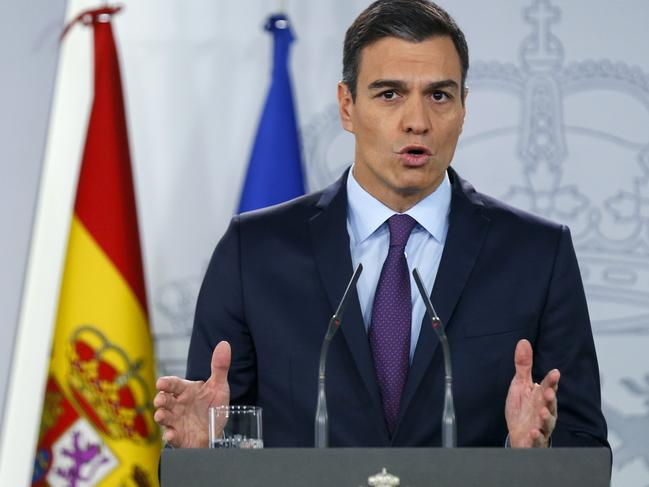 "Spain's Prime Minister Pedro Sanchez announcing support for ""full democracy in Venezuela"" as France, Sweden join countries recognising Juan Guaido as president. Picture: AP Photo"