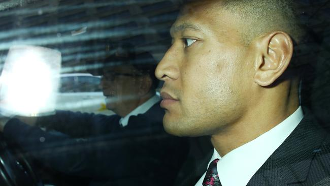 Israel Folau arrived at The Fair Work Commission in a taxi. Picture: Matrix Media Group