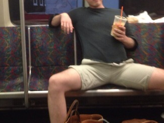 Not a care in the world in San Francisco. Picture: Men Taking Up Too Much Space On The Train