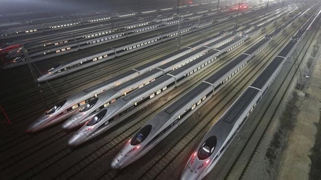 Chinese high-speed trains at rest in Wuhan. It could be some time before such a site occurs in Australia. Source: Supplied
