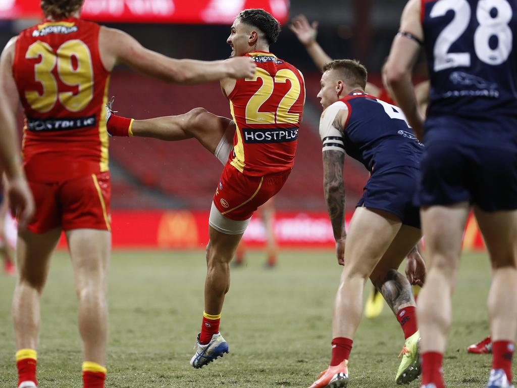 Izak Rankine's first goal will go down in footy folklore. Picture: Ryan Pierse