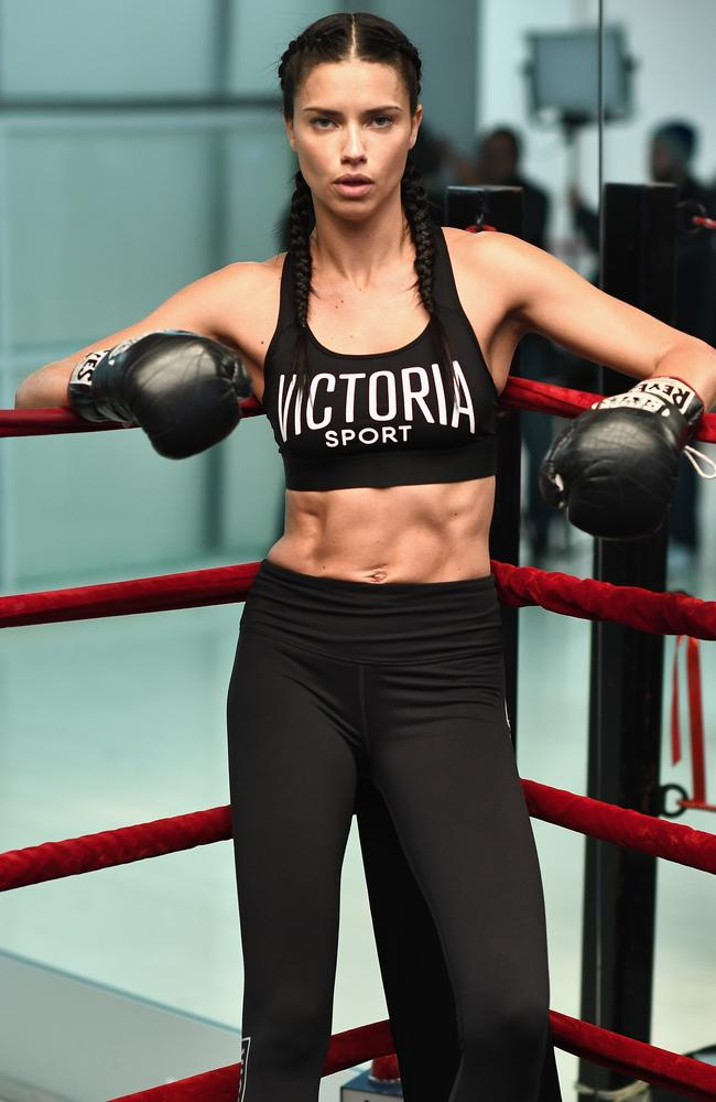 Supermodel Adriana Lima packs a punch at Aerospace High Performance Centre in New York ahead of the VS runway show. Picture: Getty Images for Victoria's Secret