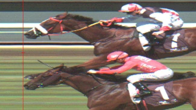 Emperor's Way (No. 1) and Almost Court (No. 7) couldn't be separated on the line.