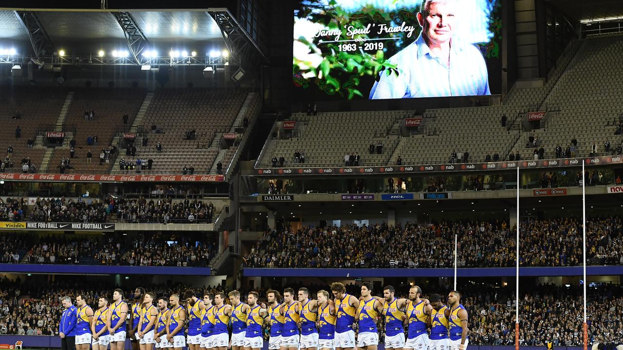 Danny Frawley was honoured with a moment's silence. Photo: Quinn Rooney/Getty Images