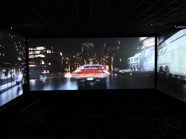 ScreenX uses three large screens to offer audiences a 270-degree view. Picture: AP Photo/Robert Stevens