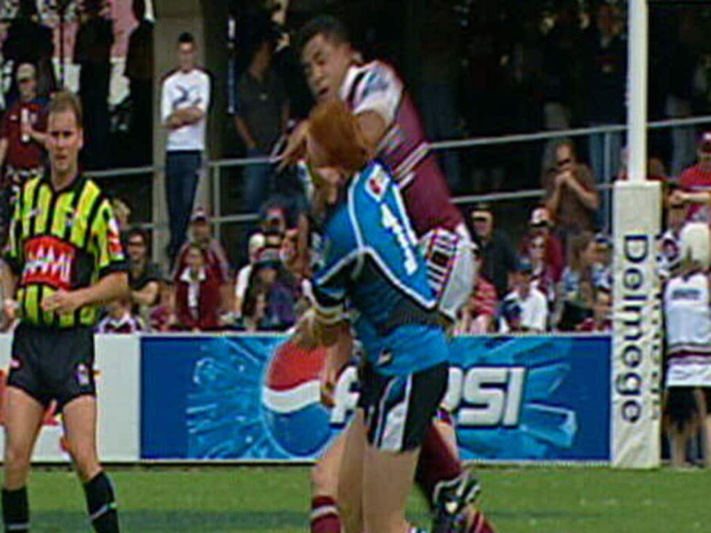 John Hopoate launches at Keith Galloway in the tackle that ended his NRL career.