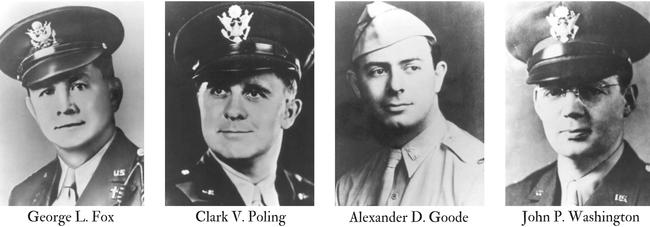 Head shots of the four army chaplains who all died in the sinking of the Dorchester in 1943.