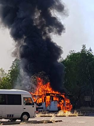 A camper van erupts in flames at Cahills Crossing