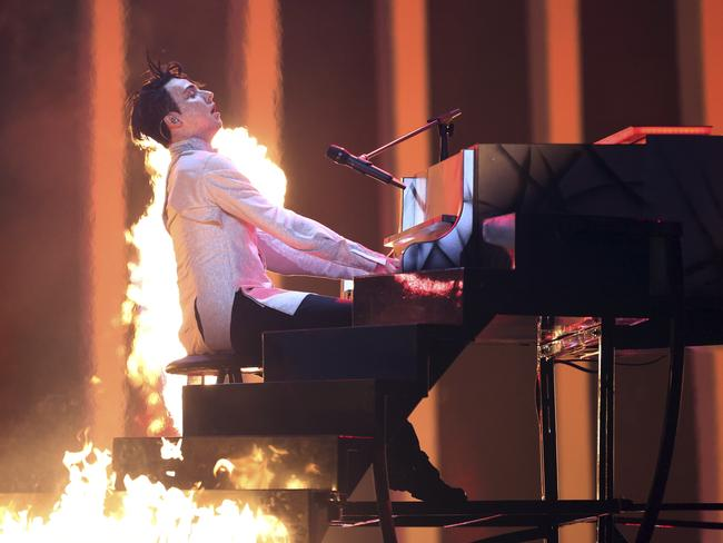 Melovin from Ukraine performs the song Under The Ladder during the second semi-final of the Eurovision Song Contest. Picture: AP