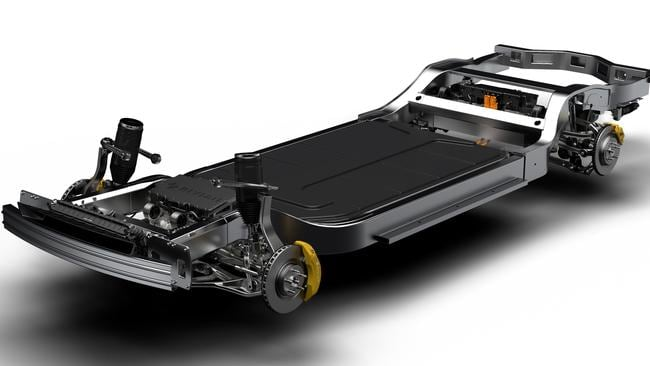 "Rivian's ""skateboard"" electric car platform stores all the car's mechanical essentials under the floor."