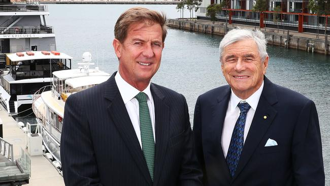 Seven West Media chief executive Tim Worner (l), with chairman of the Seven Network Kerry Stokes. Picture: John Feder.