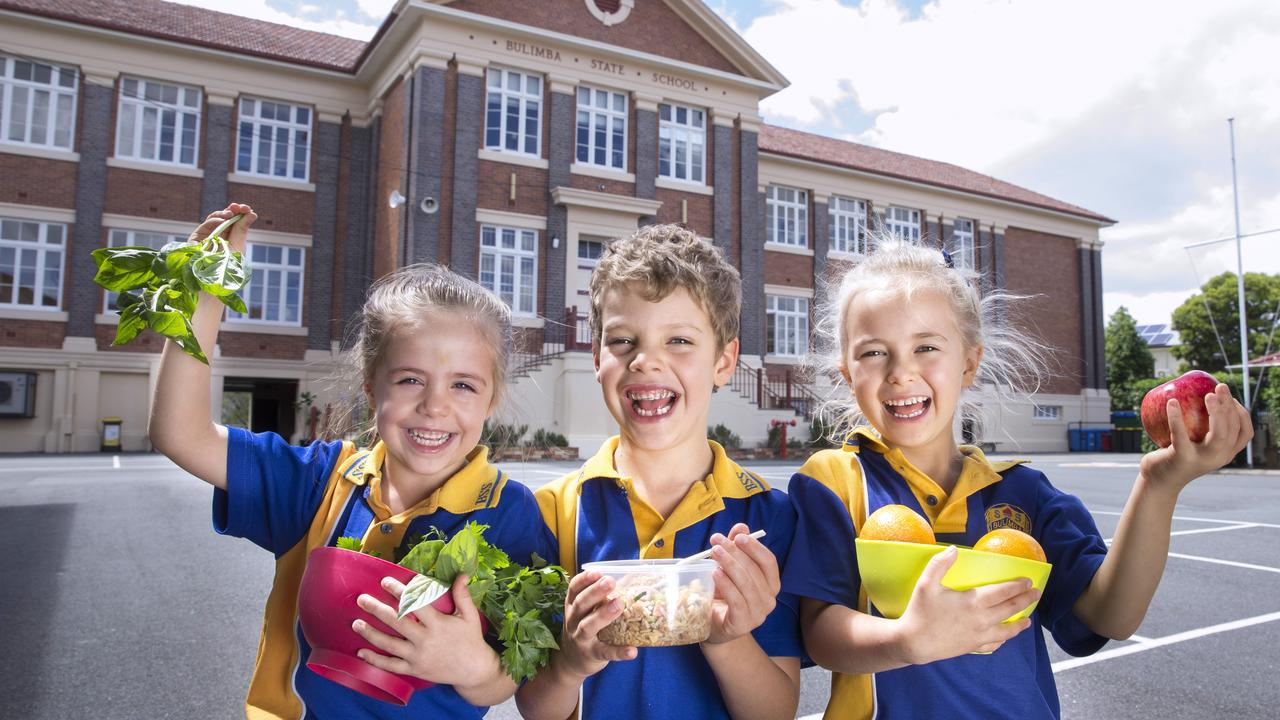 Bulimba State school won the Queensland tuckshop award last year, when Amelia, Nate and Ella were in prep. Picture: AAP