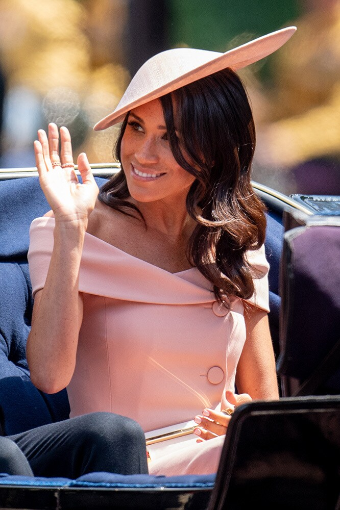 Meghan Markle wore Carolina Herrera to the Trooping the Colour 2018 ceremony in London. Image credit: Getty Images.