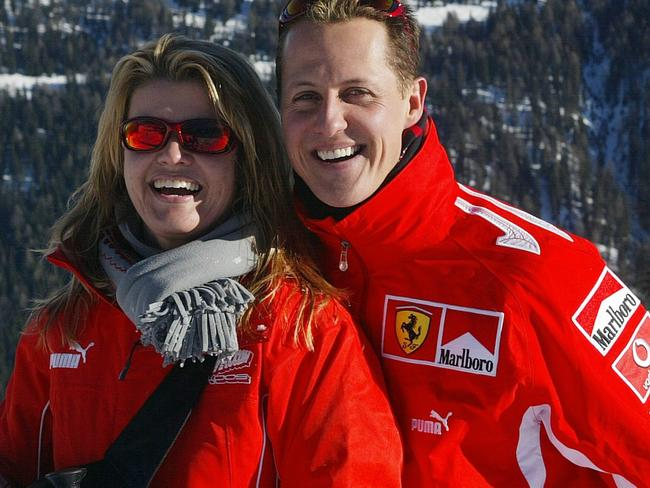 German Formula 1 driver Michael Schumacher poses with his wife Corinna.