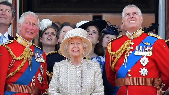 The brothers during happier times in June, with their mother Queen Elizabeth. Picture: Daniel Leal-Olivas/AFP
