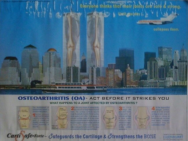 Osteoarthritis, Act Before It Strikes You. Really crappy ad from Indian pharmaceutical company Janburkt, via Buzz Feed.