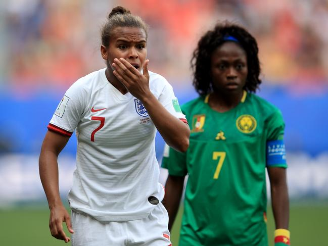 Nikita Parris of England reacts after being elbowed in the face. (Photo by Marc Atkins/Getty Images)