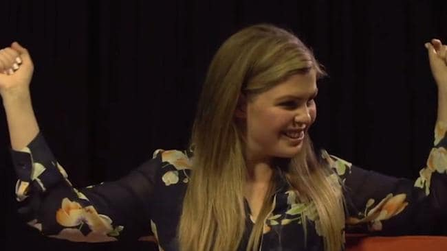 Belle Gibson appeared at ease in the mock interview presented in court.