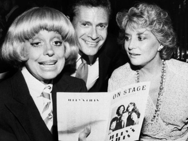Carole Channing (left), Jerry Herman (centre) and television personality Barbara Walters at the theatre on Broadway. Herman has died, aged 88. Picture: AP Photo/ David Gould